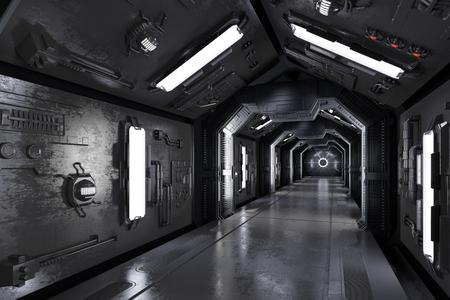 복도 어두운 미래 우주선 내부 (3D 렌더링) 스톡 콘텐츠