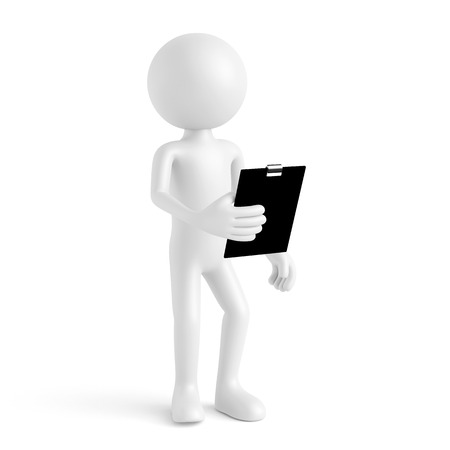 examiner: White 3D guy with clipboard for quality check (3D Rendering)