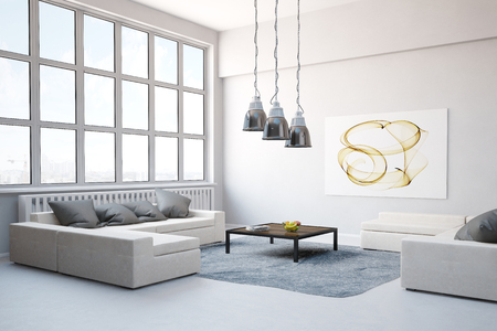 exposed concrete: Big sofa with carpet in living room in a modern loft (3D Rendering)
