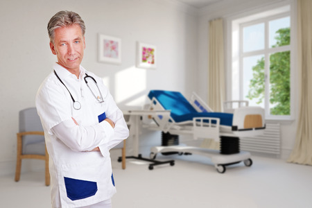 outpatient: Elderly smiling doctor standing in front of an empty hospital room (3D Rendering)