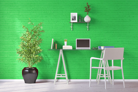 desktop computers: Home office with desk and laptop computer in front of a green wall (3D Rendering) Stock Photo