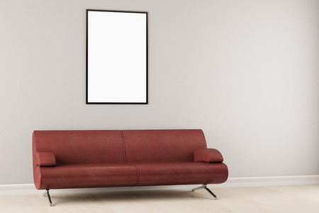 black picture frame: Empty black picture frame hanging on wall over a sofa (3D Rendering)