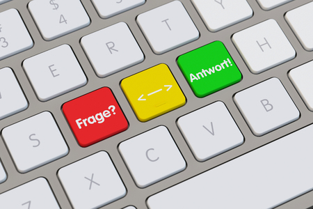 advocate symbol: German words Frage (question) and Antwort (answer) on computer keyboard (3D Rendering) Stock Photo