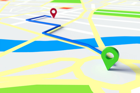 Start and goal of GPS navigation through city streets on a map (3D Rendering)