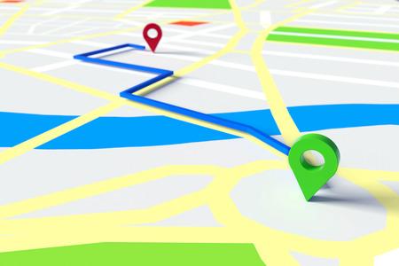 Start en het doel van GPS-navigatie door de straten van de stad op een kaart (3D rendering) Stockfoto