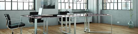 테이블 및 노트북 컴퓨터와 로프트 사무실의 파노라마 (3D 렌더링)