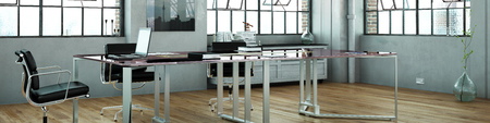 modern office: Panorama of loft office with table and laptop computer (3D Rendering)
