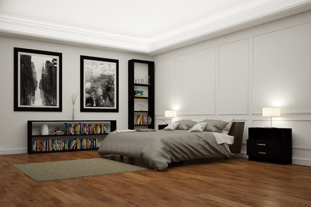 double room: Big bedroom with bed at night illuminated by lamps (3D Rendering)