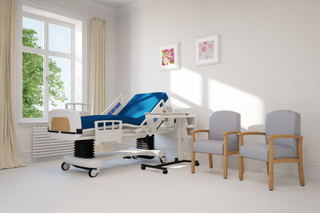 Empty single hospital room with bed in a clinic (3D Rendering)