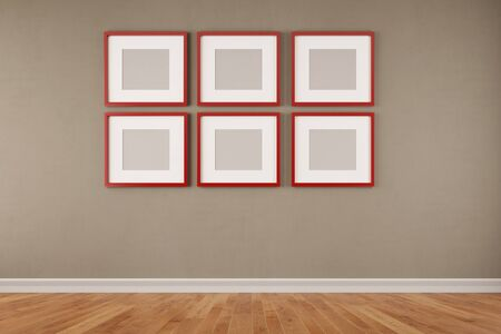 murals: Six red quare picture frames hanging on a wall in a room (3D Rendering)