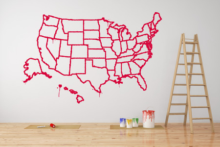 federal states: Map of USA with federal states painted on wall during renovation (3D Rendering)