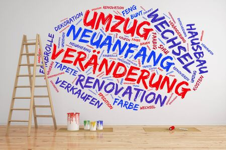 forwarding agency: Tag cloud on wall in German about Relocation and change (3D Rendering) Stock Photo