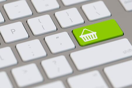 electronically: Online shopping with e-commerce symbol on a keyboard (3D Rendering)