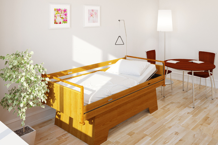 health care facility: Empty clean care bed in nursing home in a hospital (3D Rendering)
