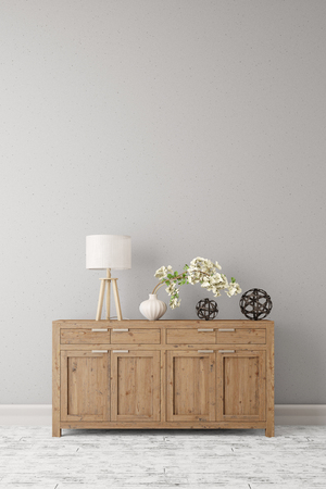 dresser: Dresser with lamp and plant standing on a wall in a corridor (3D Rendering)