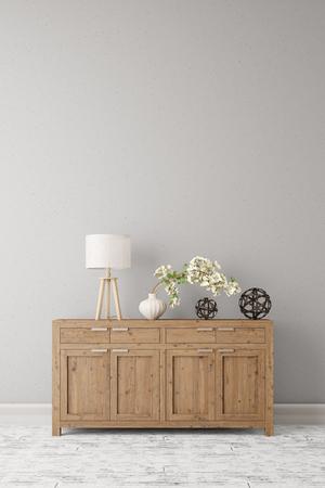 Dressoir met lamp en planten die zich op een muur in een gang (3D rendering) Stockfoto