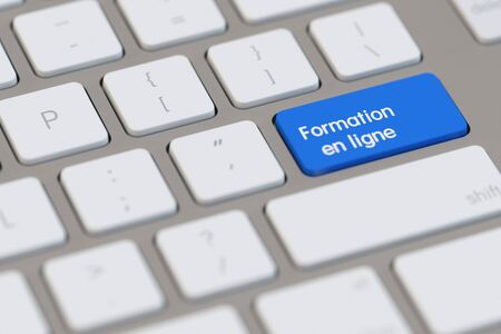electronically: Keyboard with french slogan Formation en ligne (further training) (3D Rendering)