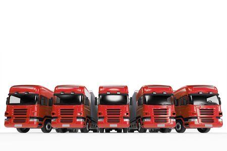 forwarding: Red truck fleet of forwarding agency (3D Rendering)