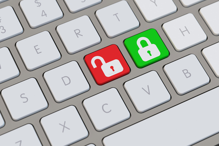 decoding: Locks as smybol for data encryption and decoding on a keyboard (3D Rendering) Stock Photo