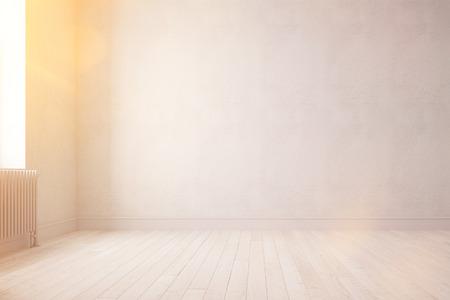 Ensoleillé pièce vide avec parquet et murs en été (rendu 3D) Banque d'images