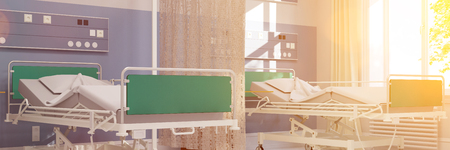 outpatient: Bright hospital room panorama with two empty beds (3D Rendering)