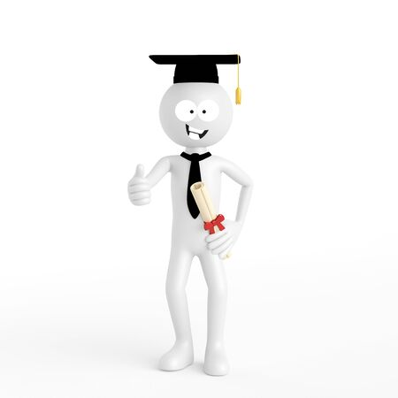 postgraduate: White 3D guy during university graduation holding thumbs up (3D Rendering)