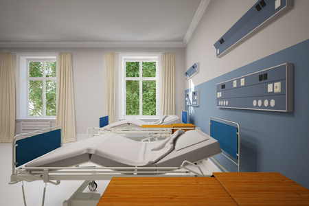 Double room in a hospital with two empty beds (3D Rendering)