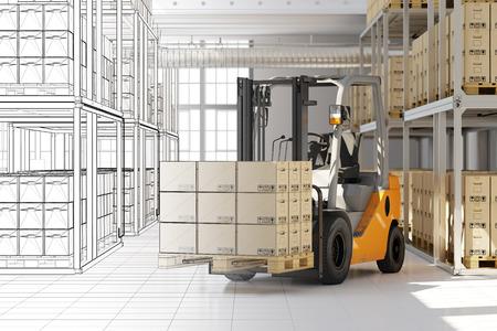 Progettazione di magazzino in casa di spedizioni da CAD mesh 3D rendering