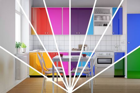 kitchenette: Small kitchen with kitchenette in bright rainbow colors to choose from (3D Rendering)