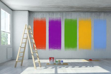 Muur kleur selectie tijdens de renovatie in een kamer (3D rendering)