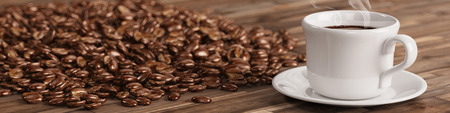 cup of coffee: Fresh cup of coffee with many coffee beans on a table (3D Rendering)