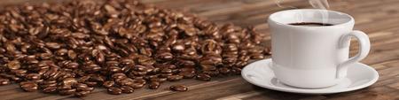 taza cafe: taza de café con muchos granos de café en una mesa (3D)
