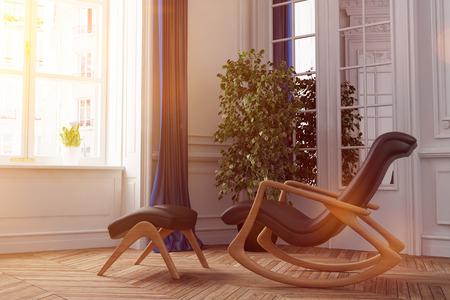 La luce del sole splende attraverso la finestra su una sedia a dondolo in salotto (rendering 3D)