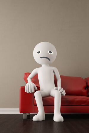 living room sofa: Discontent and unhappy white 3D guy sitting on a couch (3D Rendering) Stock Photo