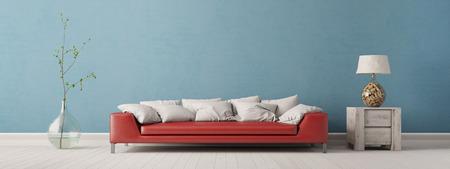 파란색 벽 앞에 소파가있는 거실의 파노라마 (3D 인테리어)