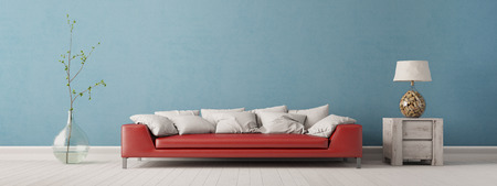 living room wall: Panorama of living room with sofa in front of a blue wall (3D Interior)
