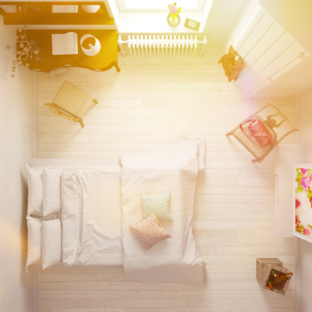 bed room: Elegant hotel room with double bed from above (3D Rendering)