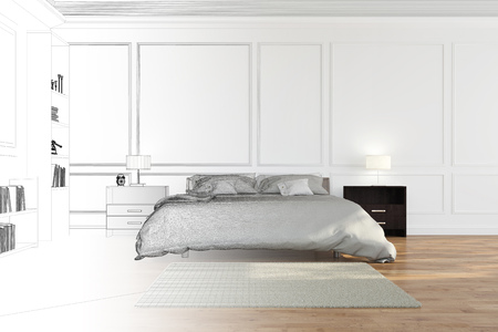 cad: Room planning in bedroom going from CAD blueprint to 3D Rendering