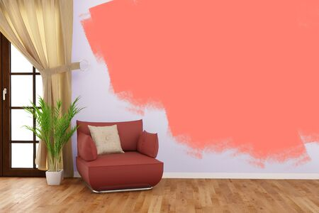 living room wall: Painting a wall with color in living room during renovation (3D Rendering)