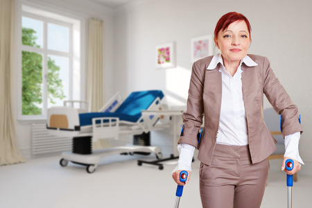 outpatient: Old woman as patient standing with crutches in a hospital room (3D Rendering)