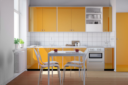 fitted: Small bright kitchen with kitchenette and a table in orange (3D Rendering)
