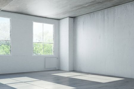 Empty room in old house with concrete walls (3D Rendering)