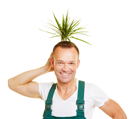 funny hair: Happy gardener holding a plant behind his head as a funny hair style