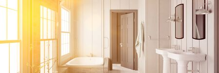 Panorama Of Bathroom With Bathtub And Sink Flooded With Sunlight (3D  Rendering) Stock Photo