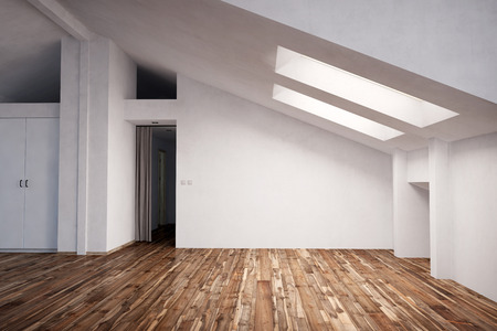 pitched roof: Empty appartment in the attic with fir wood hardwood (3D Rendering)