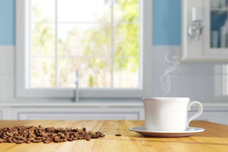 Tazza di caffè fresco con chicchi di caffè su un tavolo da cucina (rendering 3D)