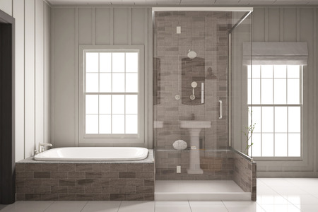 apartment building: Shower and bathtub in bright bathroom with two windows (3D Rendering)