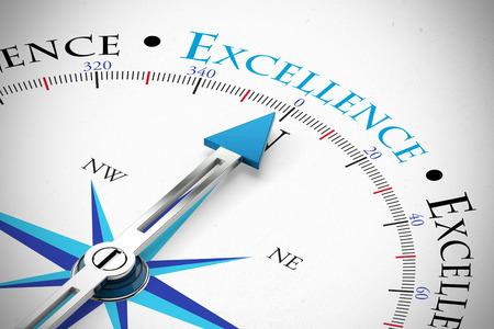 Atteindre l'excellence en affaires comme concept à la boussole (rendu 3D)