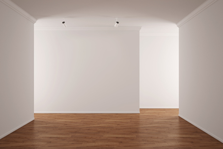 Sala de estar vacía en el apartamento luminoso con suelo de madera dura (3D)