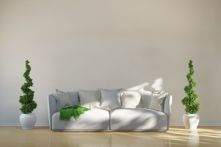 sustained: Sofa in living room with green boxwoods in front of a wall (3D Rendering)